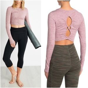 FREE PEOPLE Swerve Crop Top Cut Out Back Layering